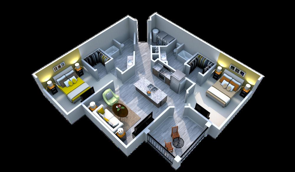 Ariel Apartment Homes Lake Nona, Orlando FL 32827 Two Bedroom Two Bath Solarium