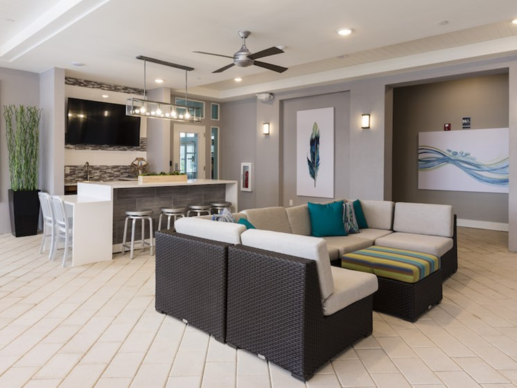 Ariel Apartments in Lake Nona, Orlando, FL 32827 resident lounge with media center