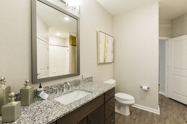 spacious bathroom with modern fixtures and granite countertops