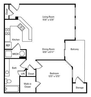 1 Bedroom, 1 Bath 787 sq. ft.