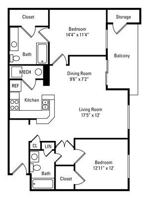 2 Bedroom, 2 Bath 1,045 sq. ft.