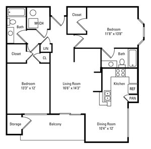 2 Bedroom, 2 Bath 1,140 sq. ft.
