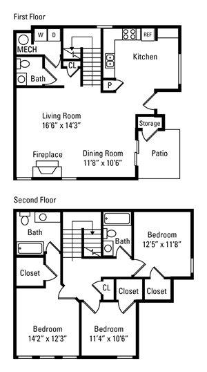 3 Bedroom, 2.5 Bath 1,528 sq. ft.