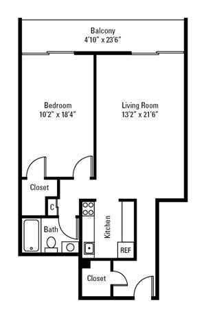 1 Bedroom, 1 Bath 770 sq. ft.