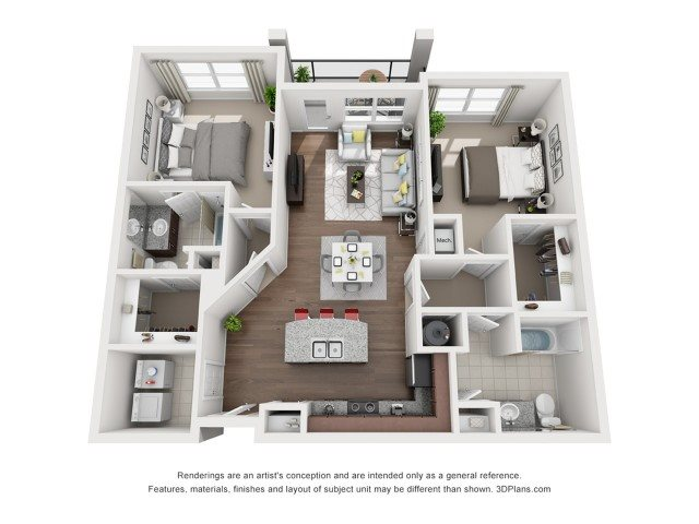Two Bedroom Two Bath (C) Floor Plan 5