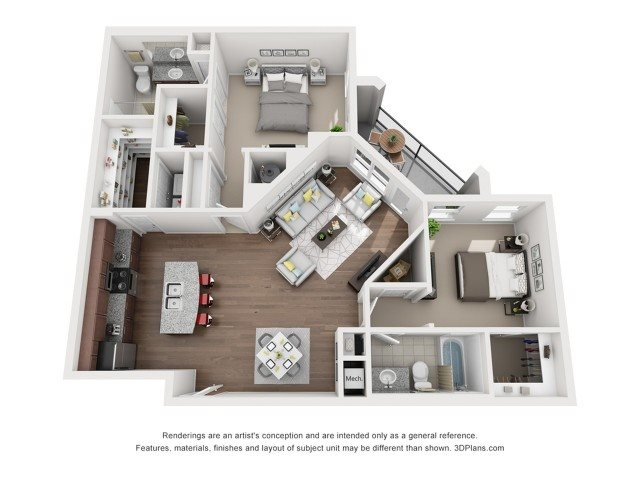 Two Bedroom Two Bath (B4) Floor Plan 6