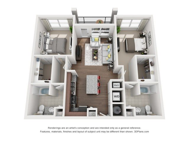 Two Bedroom Two Bath (B1) Floor Plan 3