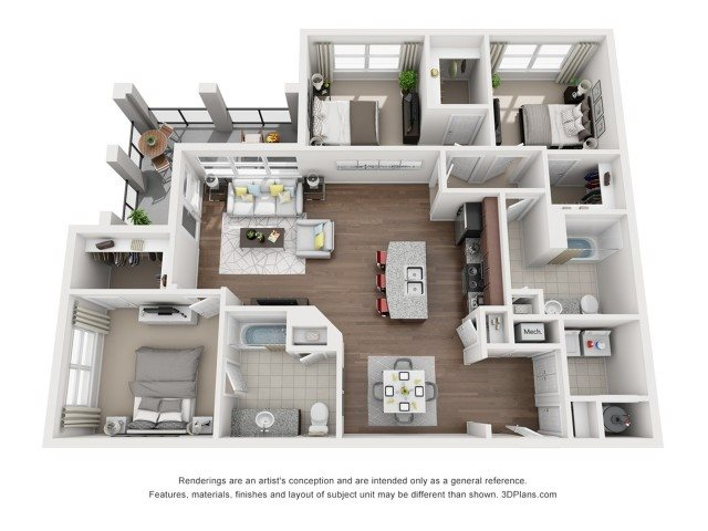 Three Bedroom Two Bath Floor Plan 7
