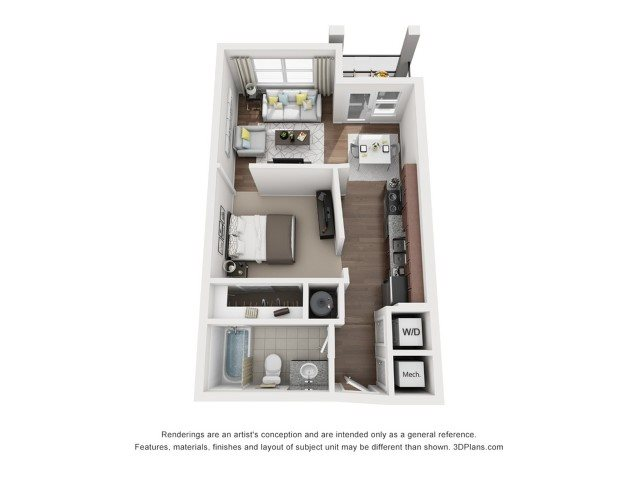 Studio One Bath Floor Plan 1