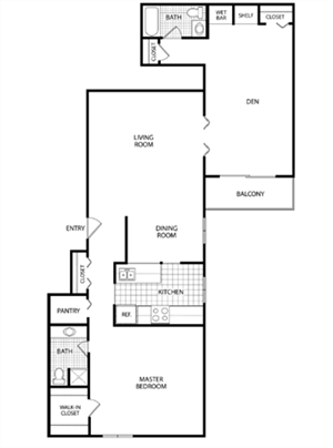 1 Bed 2 Bath-Aristocrat Apartments