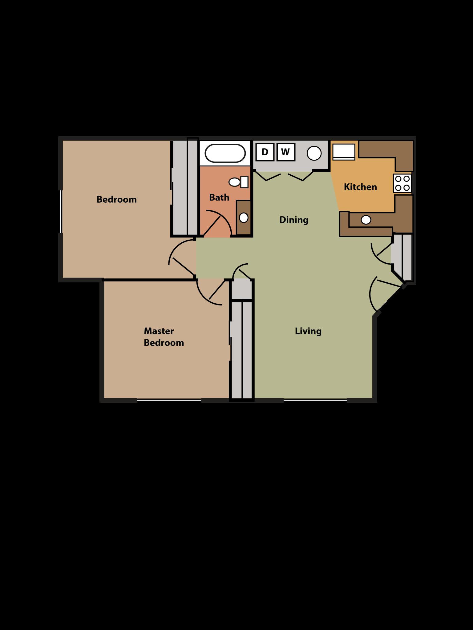 2 Bed, 1 Bath Floor Plan 2