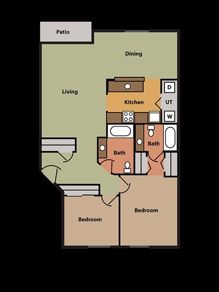 2 Bed, 2 Bath Floor Plan 3