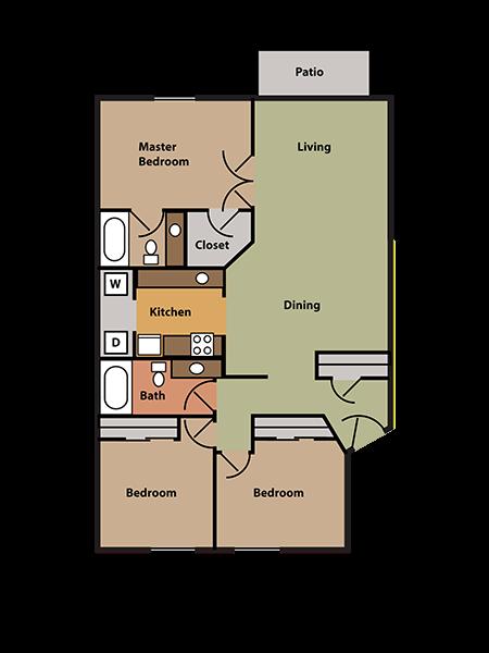 3 Bed, 2 Bath Floor Plan 4