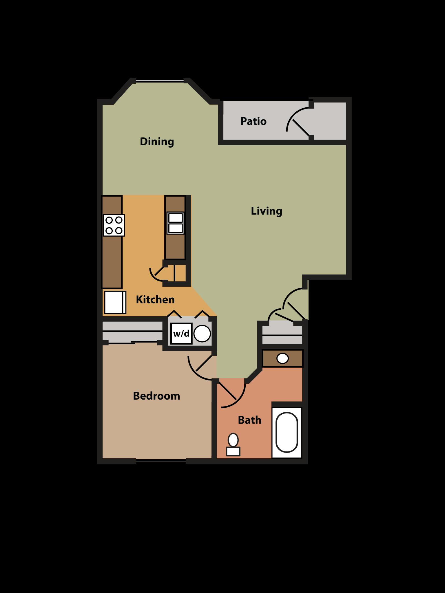 1 Bed, 1 Bath w/ Bay Window Floor Plan 2