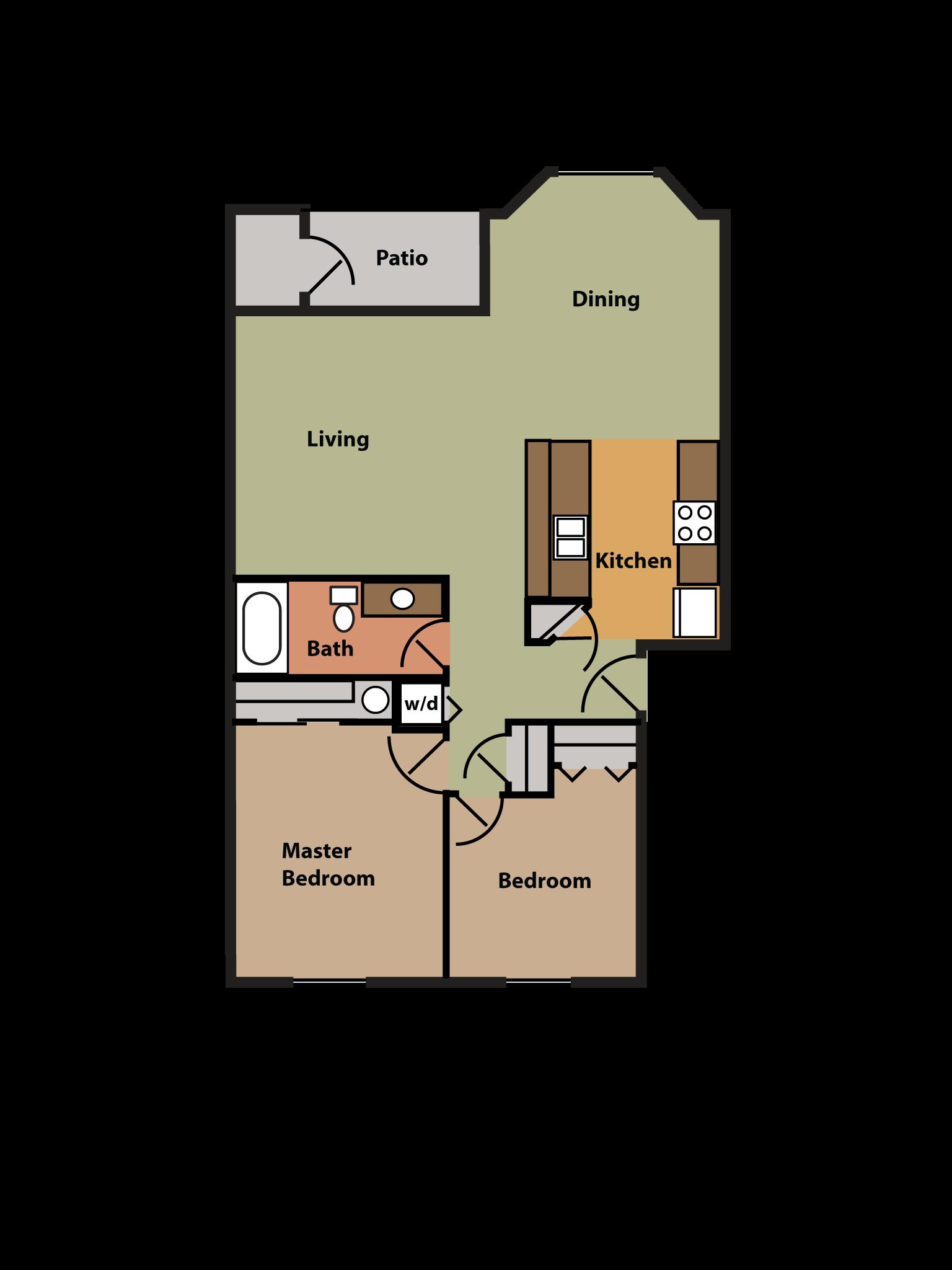 2 Bed, 1 Bath w/ Bay Window Floor Plan 5