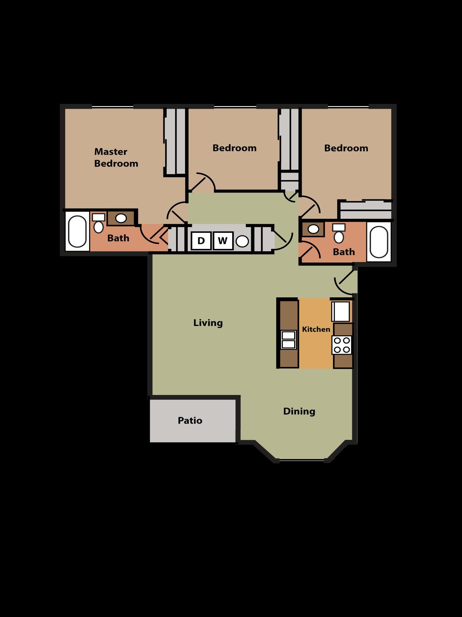 3 Bed, 2 Bath w/ Bay Window Floor Plan 6