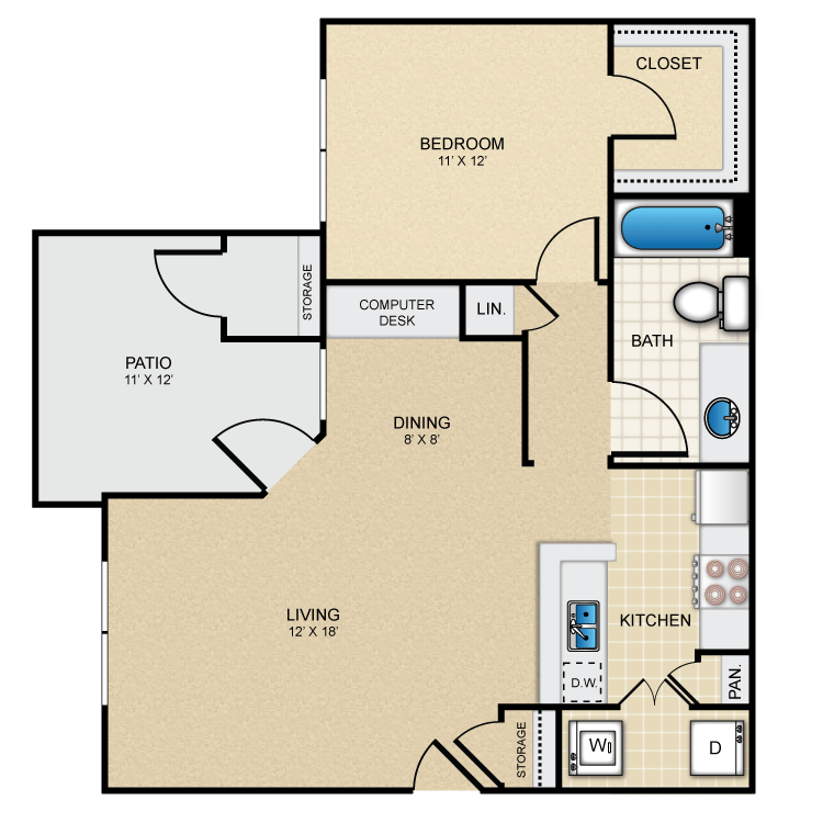 Guadalupe 1Bed/1Bath 764 sq. ft. floorplan
