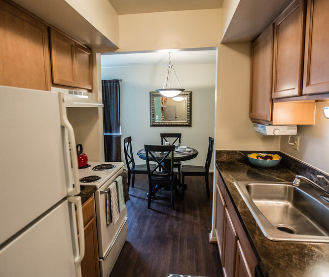 Modern Kitchen at Drawbridge Apartments East at 36420 Union Lake Road