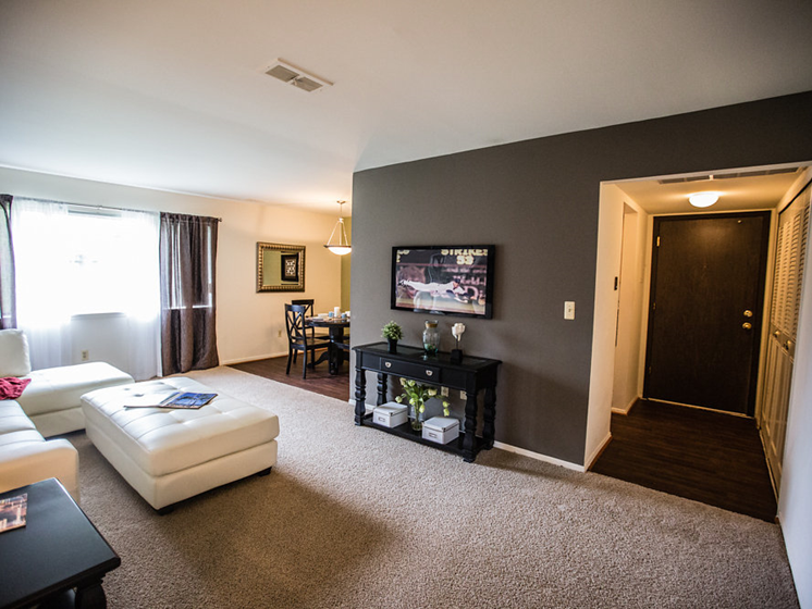 Airy Living Room at Drawbridge Apartments East at Harrison Township, 48045