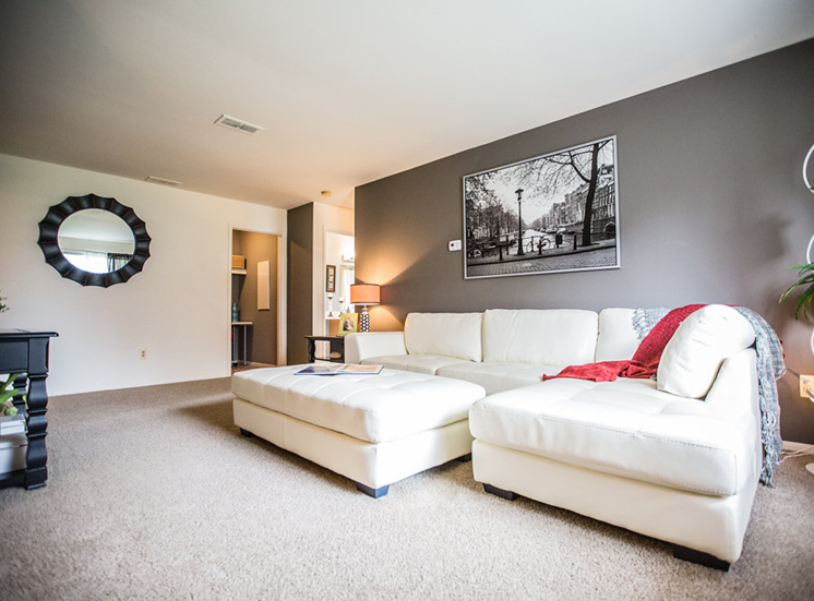 Bright Living Room at Drawbridge Apartments East at Harrison Township, 48045