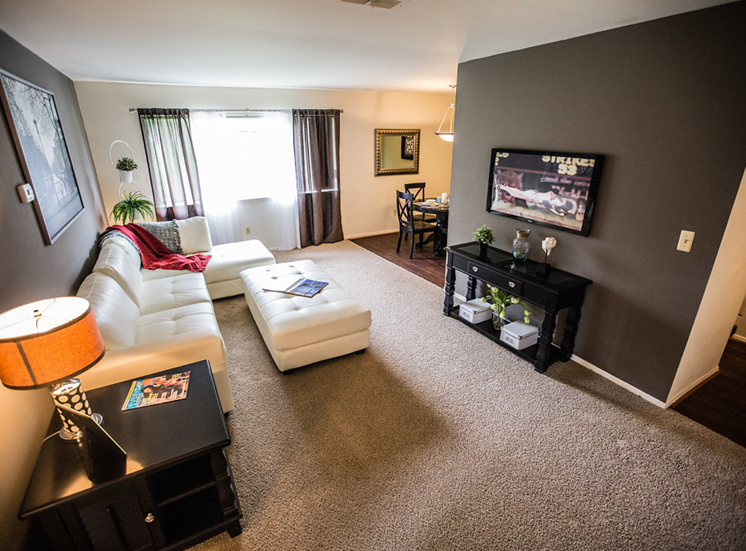 Spacious Living Room at Drawbridge Apartments East at Harrison Township, 48045