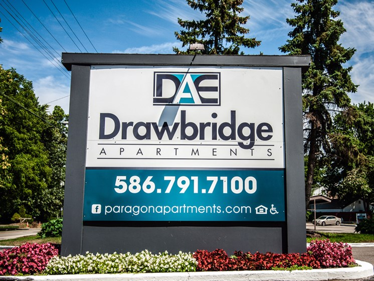 Drawbridge Signage at Drawbridge Apartments East at Harrison Township, Michigan