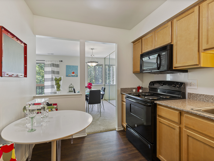 Fully equipped kitchen, at Franklin River Apartments, Southfield, MI