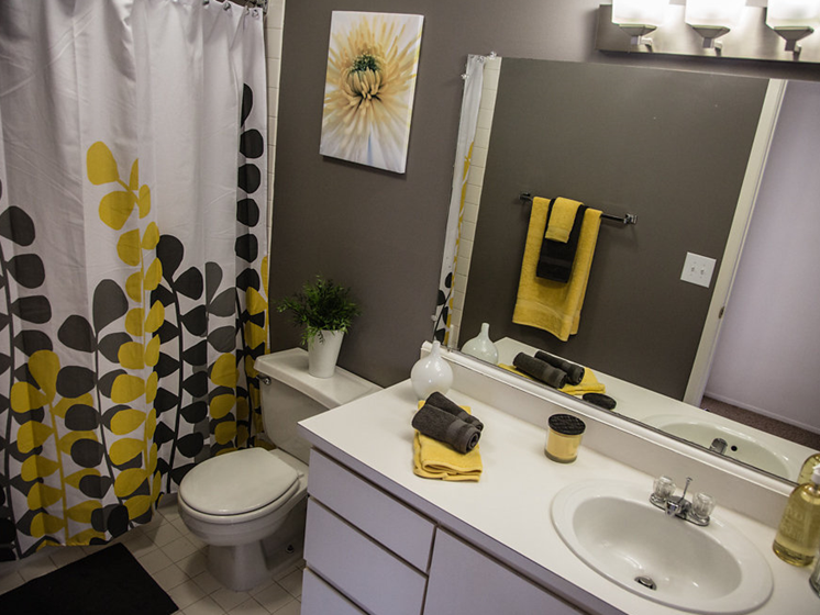Modern Bathroom at Franklin River Apartments, Southfield, MI