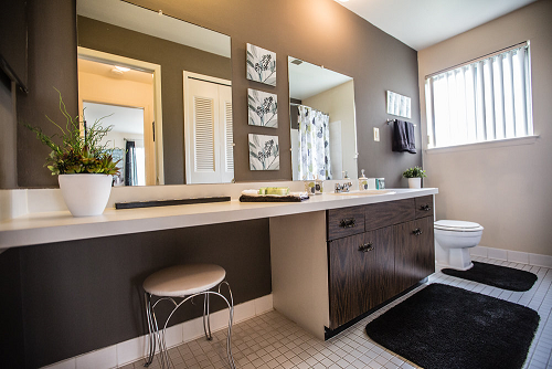 Renovated Bathroom at Knottingham Apartments, Clinton Township