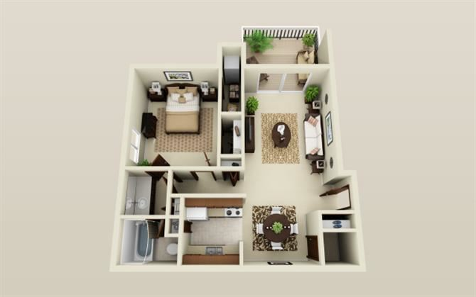 One Bedroom One Bath Floor Plan at Three Oaks Apartments in Troy, MI