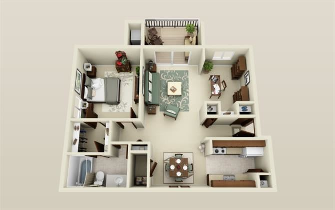One Bedroom One Bath Den Floor Plan at Three Oaks Apartments in Troy, Michigan