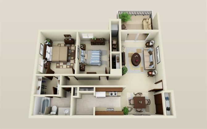 Two Bedroom One Bath Floor Plan at Three Oaks Apartments in Troy, MI 48098