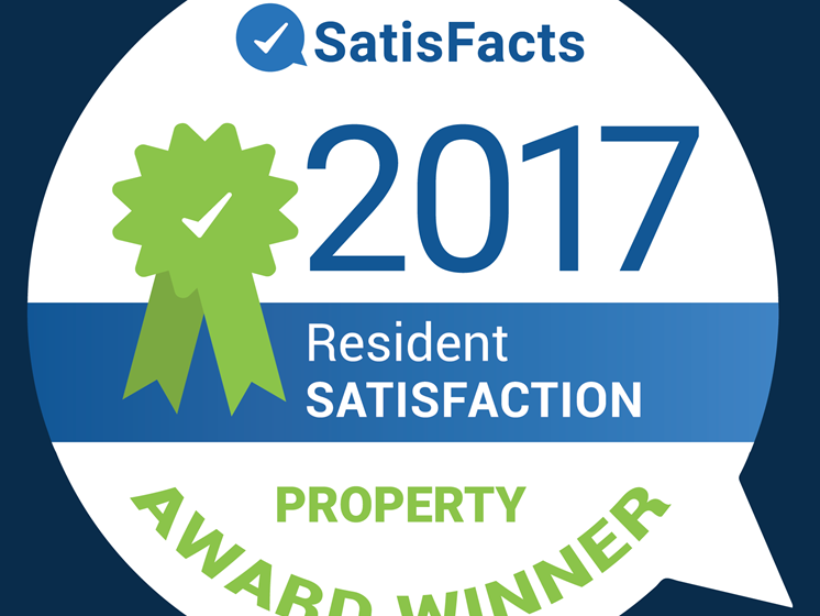 2017 SatisFacts Property Award for Three Oaks Apartments located in Troy, MI