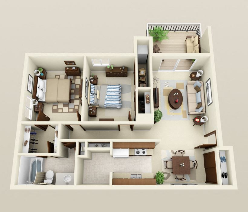 Two Bedrooms One Bath Barrier Free Floor Plan at Three Oaks Apartments in Troy, MI