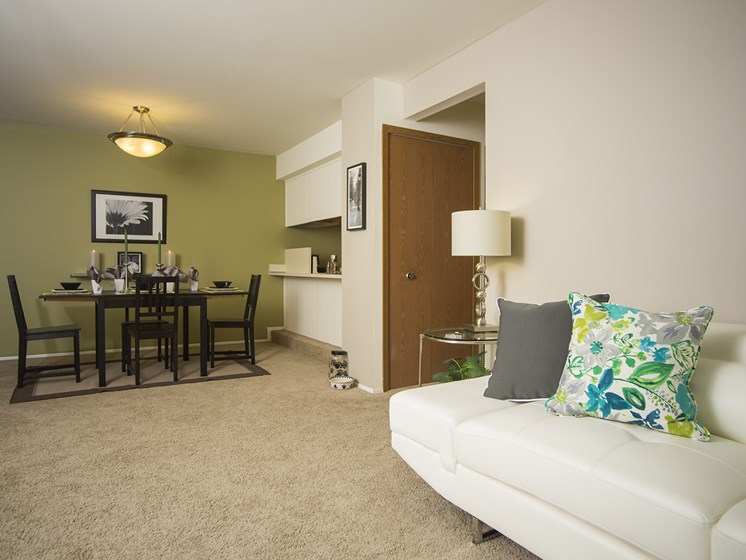 Spacious living room and dining area at Woodland Villa Apartments in Westland