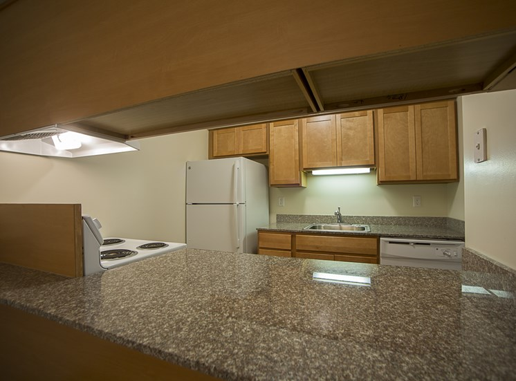 Updated kitchens with granite countertops at Woodland Villa Apartments in Westland, MI