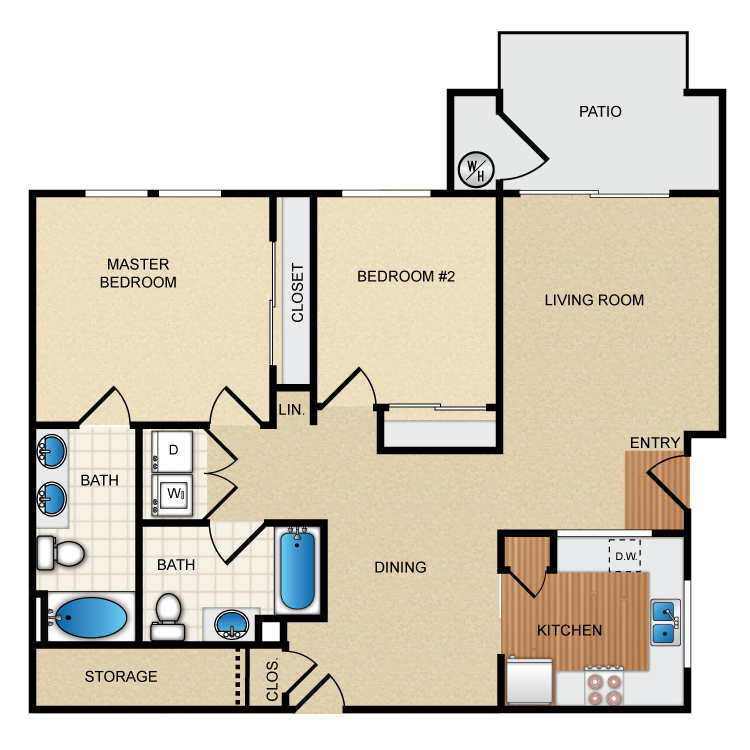 Levante Floorplan at Santa Rosa Apartment Homes, Wildomar, CA, 92595