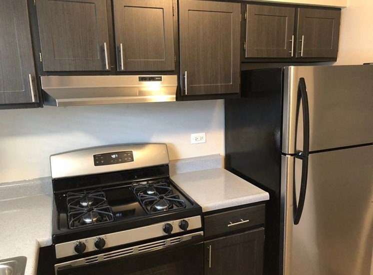 2BR, 1BA A-style with Grey Cabinets Kitchen