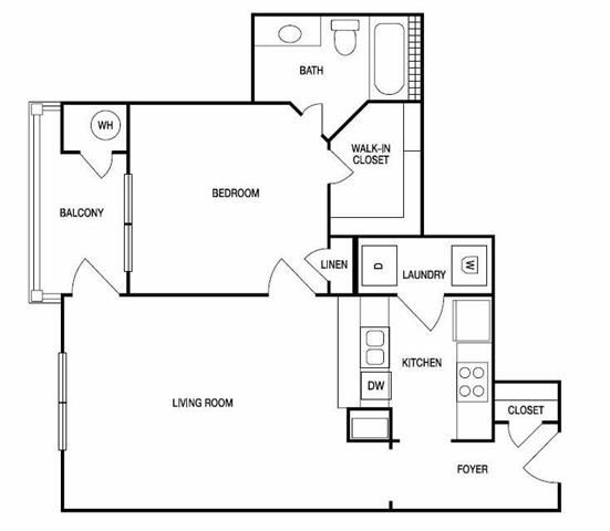 The Athens One Bed One Bath Floor Plan at Hudson Ridge, Atlanta, GA, 30339