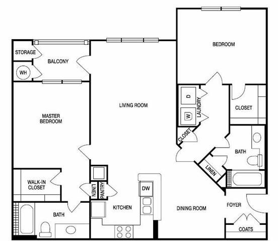 The Atlanta Two Bed Two Bath Floor Plan at Hudson Ridge, Atlanta, GA