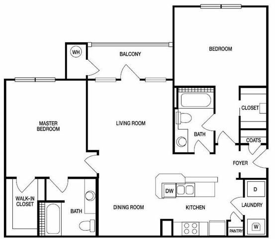 The London Two Bed Two Bath Floor Plan at Hudson Ridge, Atlanta