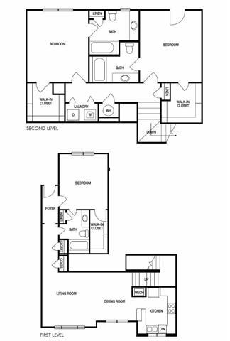 The Seoul Three Bed Three Bath Floor Plan at Hudson Ridge, Atlanta, GA, 30339