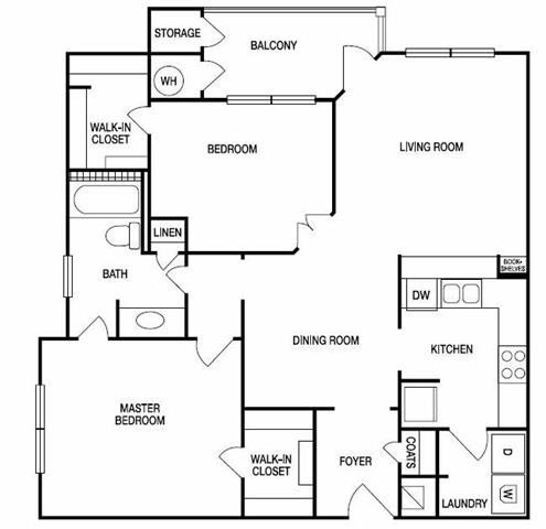 The Torino Two Bed One Bath Floor Plan at Hudson Ridge, Atlanta, 30339
