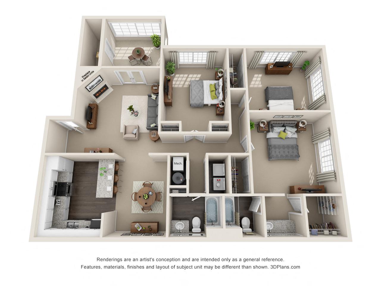 3 Bedroom Flat Floor Plan 4