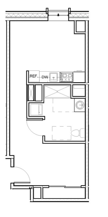 1 Bed Loft 505 Accessible Floor Plan 1