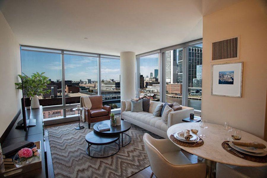 Model Living Room at The Benjamin Seaport Residences, Boston, MA, 02210