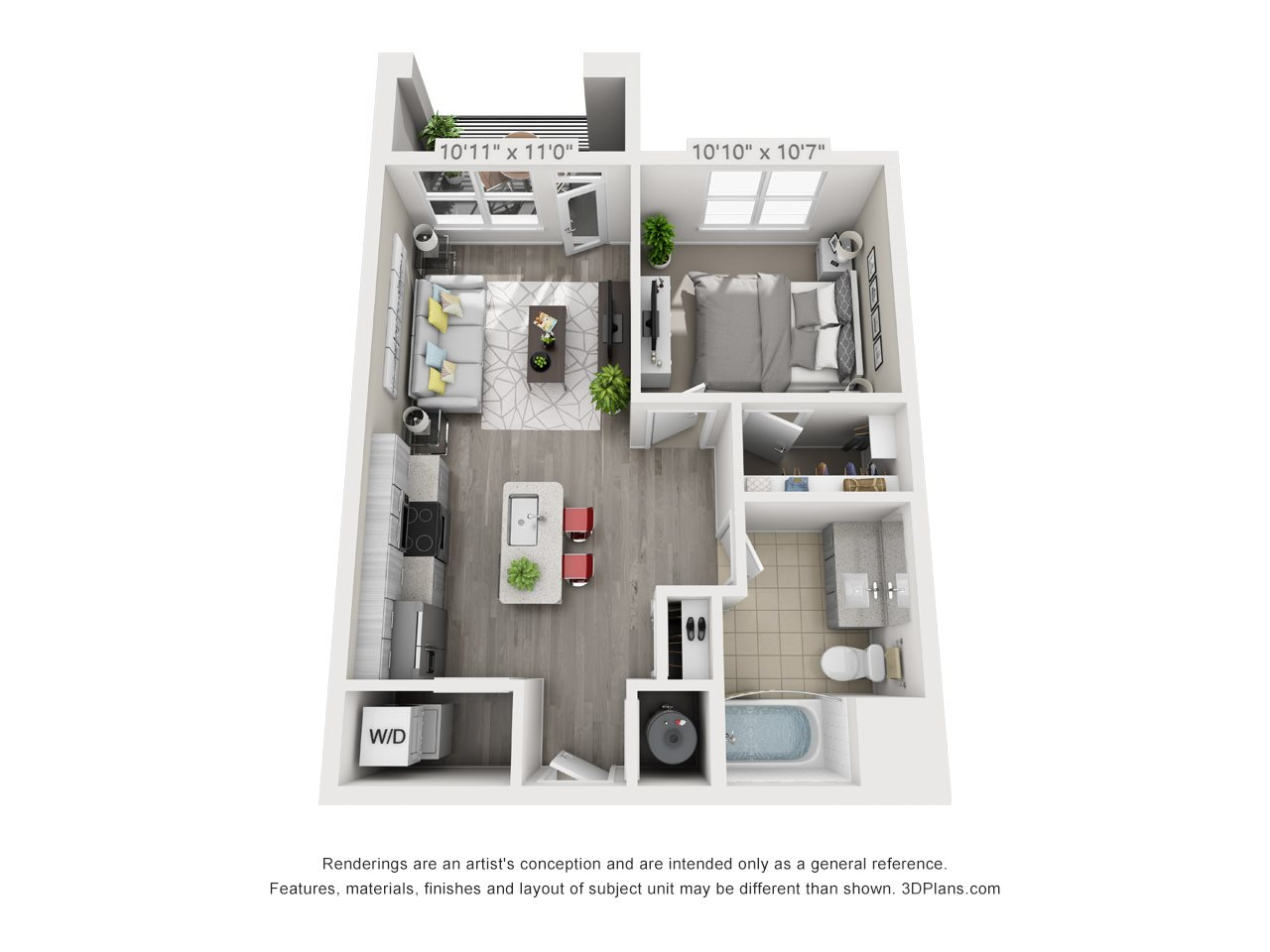 A1 1 BEDROOM/1 BATH Floor Plan 1