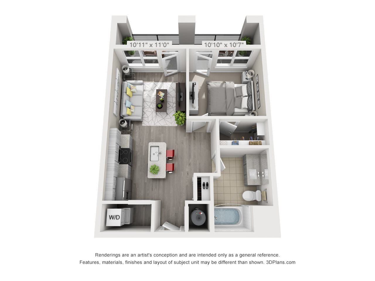 A1B 1 BEDROOM/1 BATH/ BALCONY Floor Plan 2