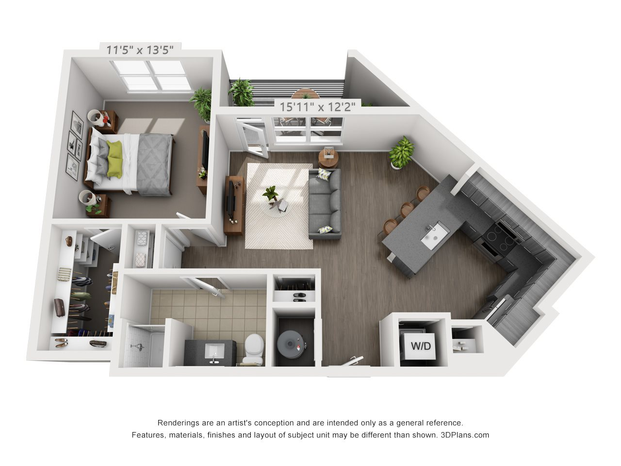 A2 1 BEDROOM/1 BATH Floor Plan 3