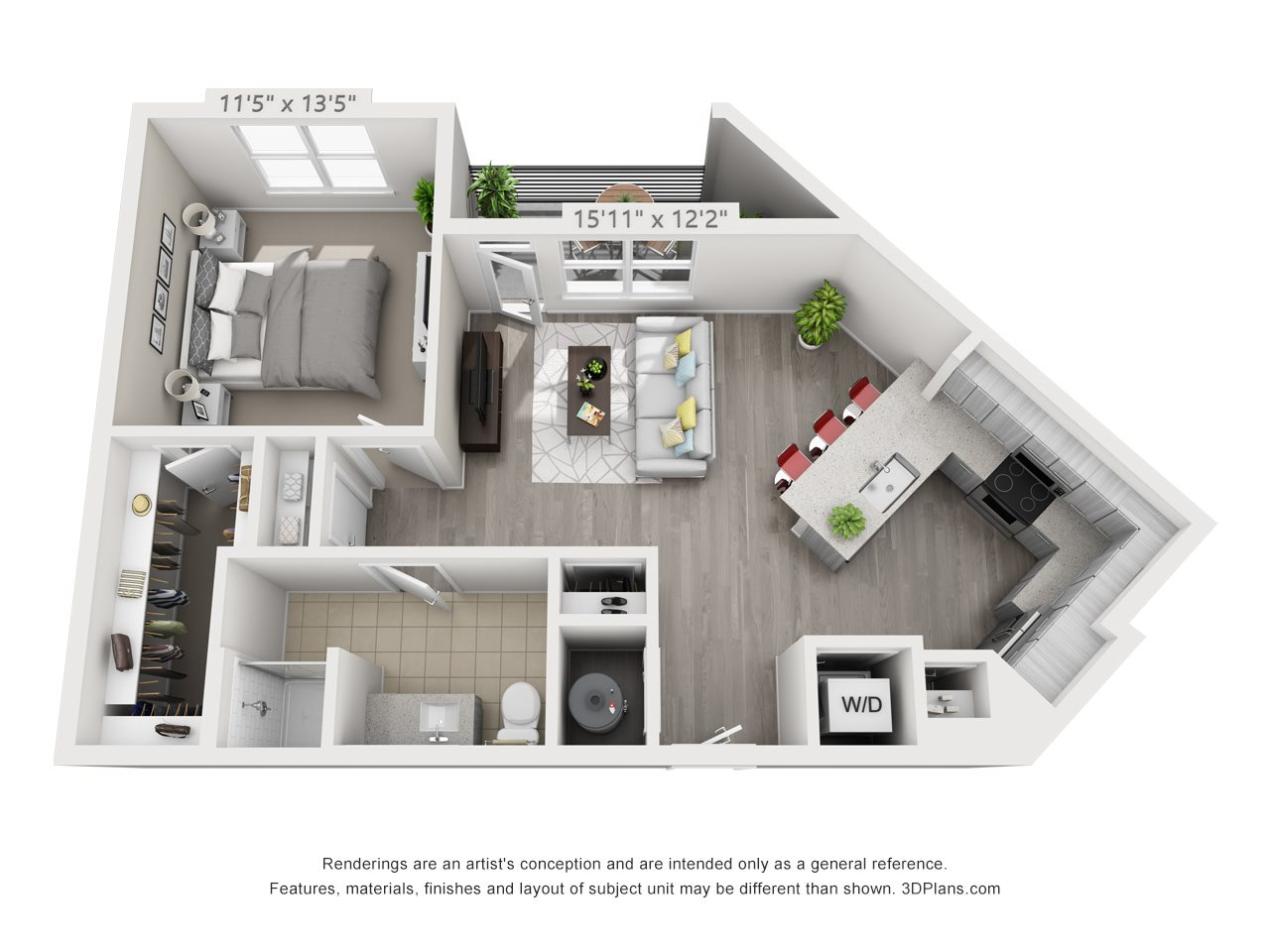 A3 1 BEDROOM/1 BATH Floor Plan 4